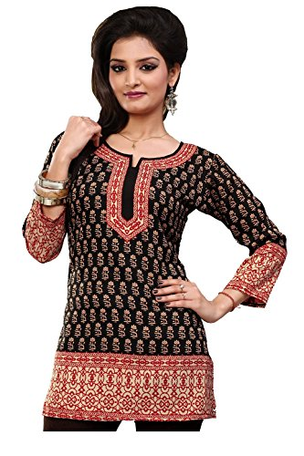 Indian-Tunic-Top-Womens-Kurti-Printed-Blouse-Kurta-India-Clothes