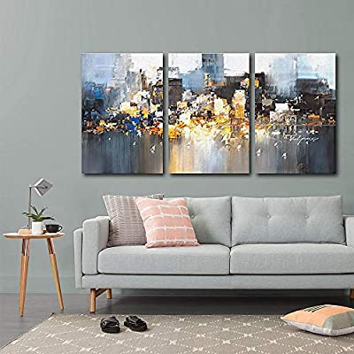3 Plane Color Block Oil Painting Abstract Art for Living Room x 3 Panels