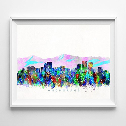 Anchorage Alaska Watercolor Skyline Wall Art Home Decor Poster - Day Anchorage Kids