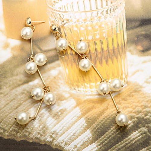 Litetao Womens Girls Freshwater Pearl Long Pearls Earrings Anniversary Engagement Party