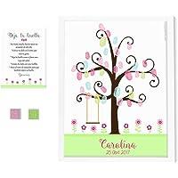 Árbol de huellas flores alegres. Incluye marco y tintas a elegir. Elige el color de la lámina. Cuadro huellas de…