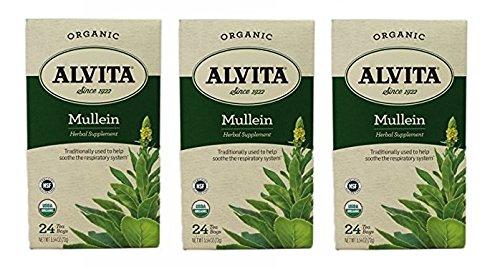 Alvita Tea Bags, Mullein Leaf, Caffeine Free, 24 tea bags [5.4 oz (72 g)] (Pack of (Alvita Teas Mullein Leaf Tea)