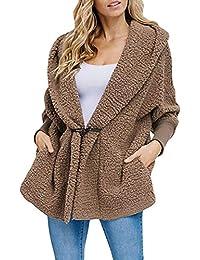 Women Button Lapel Hooded Faux Fuzzy Shearling Fleece Open Front Warm Oversized Jackets Coat with Pockets