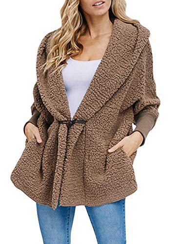 Happy Sailed Women Fashion Long Sleeve Lapel Button Faux Shearling Shaggy Oversized Coat Jacket with Pockets Warm Winter XL Brown