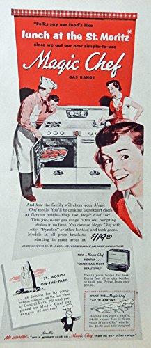 Magic Chef Gas Range, Print Ad. B&W Illustration (man cooking) Original Vintage, 1950 Rare Woman's Day Magazine Art - Vintage Womans Day Magazine