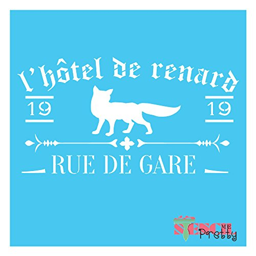 - - French Fox Hotel - Primitive Vintage sign DIY wall art and craft (XS (10