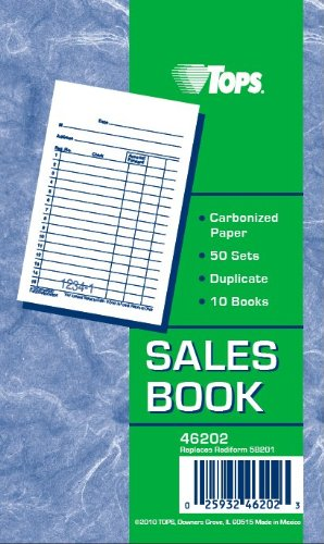 TOPS Sales Order Books, 2-Part, Carbonized, 3-3/8 x 5 Inches, White/Canary, 50 Sets/Book, 10 Books (46202) (Sales Receipt)