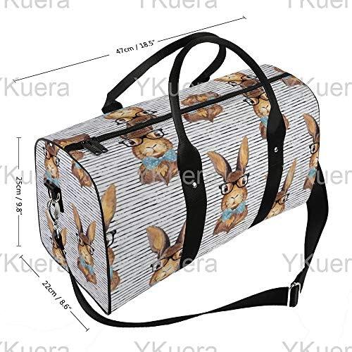 メガネストライプのバニー1 旅行バッグナイロンハンドバッグ大容量軽量多機能荷物ポーチフィットネスバッグユニセックス旅行ビジネス通勤旅行スーツケースポーチ収納バッグ