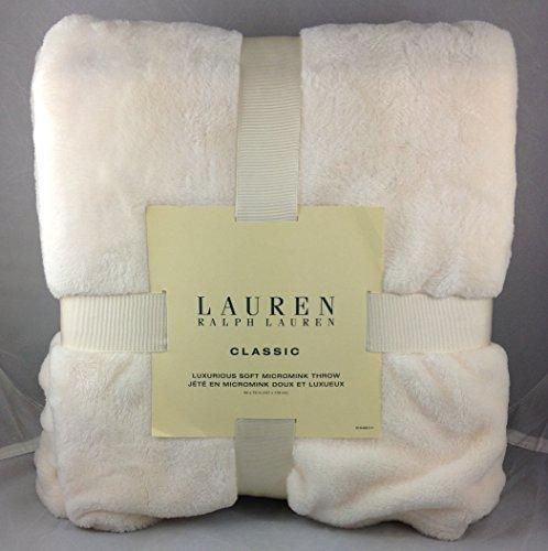 Ralph Lauren Classic Cream Micromink Throw Blanket Cream Mic