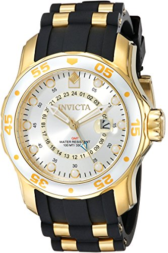 Invicta Men's 6995 Pro Diver Collection GMT Silver Dial Black Polyurethane Watch ()