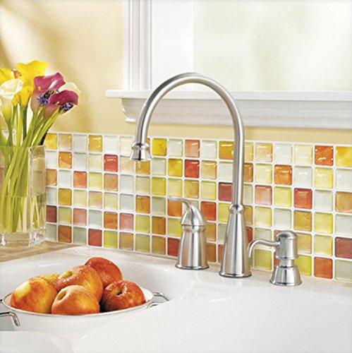 Beaustile Orange Mosaic 3D Wall Sticker Pack of 2 Home Decor Fire Retardant Backsplash Wallpaper Bathroom Kitchen DIY Plain Design