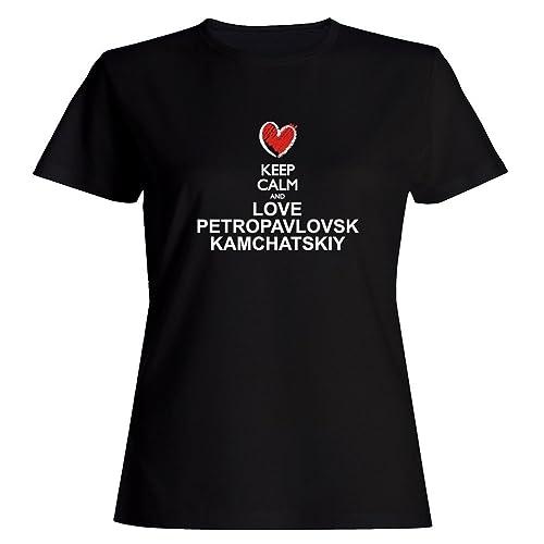 Idakoos Keep calm and love Petropavlovsk Kamchatskiy chalk style Maglietta donna