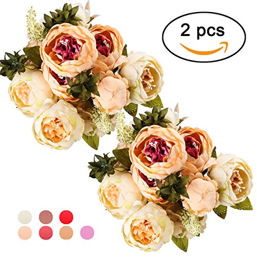 Ogrmar Vintage Artificial Peony Silk Flowers Bouquet for Decoration (Champagne color x2)