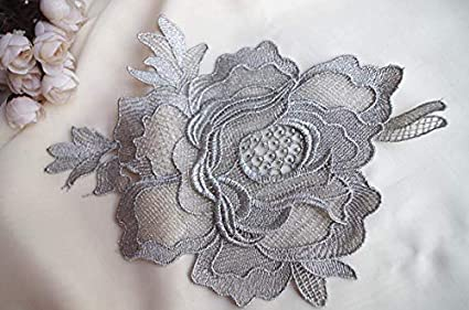 Amazon lace craft silver rose applique silver lace