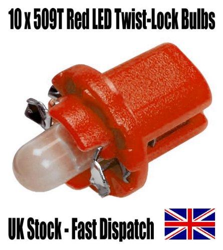 TIS (TM) 10 x Red 509T / T5 Twist / B8.5T Twist-Lock LED Dash / Dashboard / Speedo Bulbs