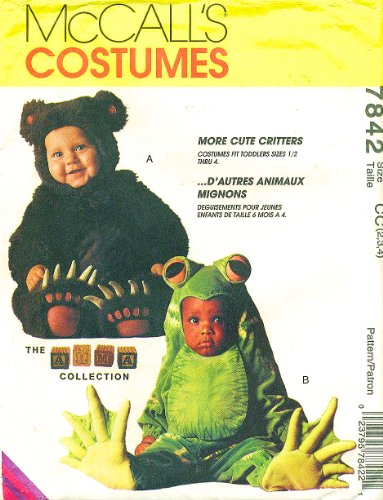 McCall's 7842 Toddler Costume Bear, Frog the Arma Collection Size 2,3,4 -