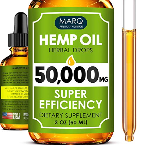 51AyET92rsL - Hemp Oil Drops (50000MG) - Best Natural Hemp Seed Oil - Premium Colorado Seed Extract - Only Natural Ingredients - for Pain and Inflammation Relief, Reduces Stress and Anxiety, Provides Restful Sleep