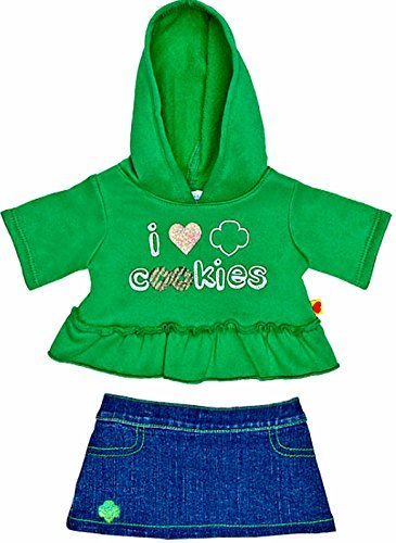 Build a Bear Workshop Girl Scout Cookie Green Hoodie Denim Skirt 2 pc. Teddy Size Outfit by Build A Bear