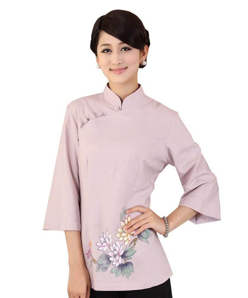 8311daf6d AvaCostume Women's Linen Chinese Style 3/4 Sleeve Blouse Qipao Top Shirt  Size US 6 Pink