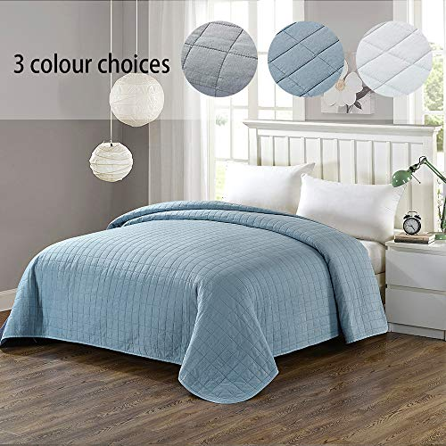Simple&Opulence Washed Super Soft Microfiber Quilt Bedspread (Twin, Blue)