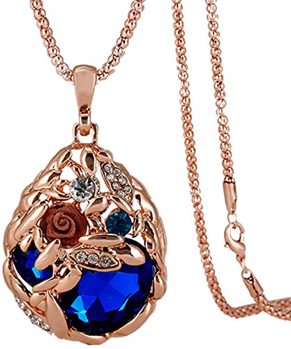 [Calors Vitton Rose Gold Plated Flower Water Drop Crystal Long Sweater Chain Pendant Necklace Royal blue] (Difference Between Fashion Jewellery And Costume Jewellery)