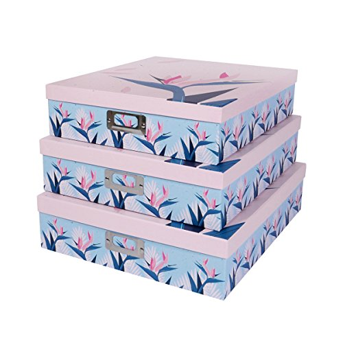SLPR Office Storage Cardboard Boxes with Metal Plate (Set of 3, Tropical) | Nesting Gift Boxes with Lid for Keepsake Toys Photos Memories Closet Nursery Office Bedroom (Memory Box Keepsake Box)