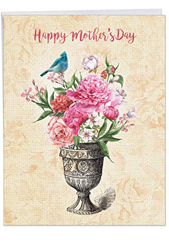 - Blooming Urns - Stylish Happy Mother's Day Card with Envelope (Extra Large 8.5 x 11 Inch) - Fresh Floral and Animal Theme Appreciation Notecard - Vintage Gratitude Greeting Card for Mom J6585HMDG