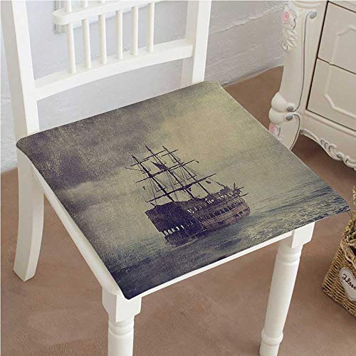(Mikihome Classic Decorative Chair pad Seat Sailboat Pirate Ship in The Sea Legend CruiseVoyage Style Lilac Cushion with Memory Filling 30