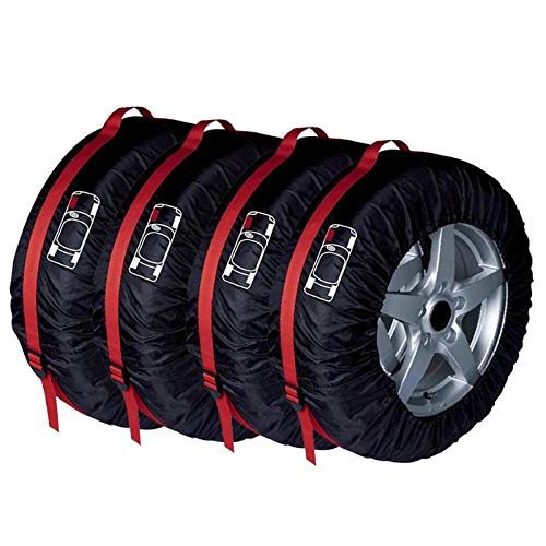 LoLa Ling 4pcs Car Auto Spare Tire Wheel Protection Covers Black and Red Storage Bags Carry Tote Cover Vehicle Wheel Protector by LoLa Ling (Image #4)