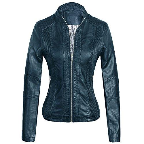 Marte&Joven Women's Slim Moto Biker Jacket Spring Autumn Zip Up Faux Leather Coat Navy Blue