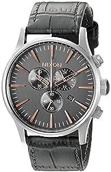 Nixon Men's A4052145 Sentry Chrono Leather Analog Display Japanese Quartz Grey Watch