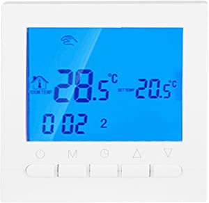 Programmable Thermostat, Smart Home WiFi Wireless Heating Thermostat with Digital LCD Screen Double Temperature Display Mode App Control WiFi Thermostats for Home Office, 3.34 x 3.34 x 1.77 inch