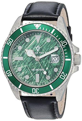 Christian Van Sant Men's 'Montego Vintage' Quartz Stainless Steel and Silicone Casual Watch, Color:Black (Model: CV5102LB)
