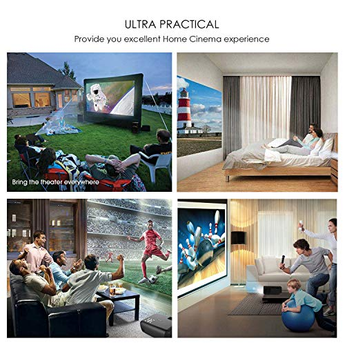 Smartelf Mini Projector Home Movie Video Projector 2800 Lumens Support 1080P HDMI USB SD Card VGA AV for Home Theater Cinema TV Laptop Game-Black