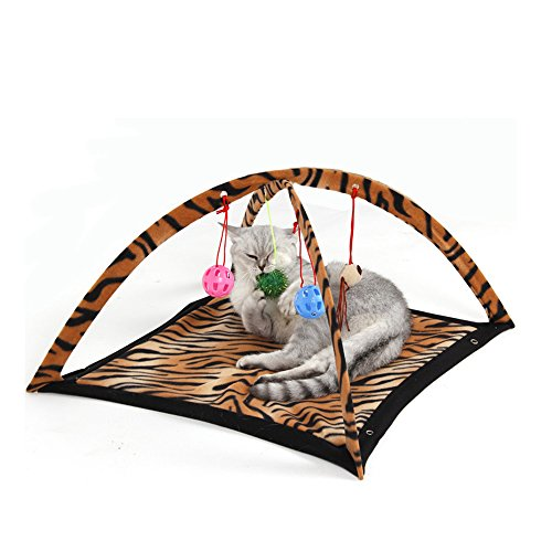(Tofern Multi-Function Pet Kitten Cat Interactive Activity Soft Fleece Folding Toy Mat Bed Hammock Tent With Hanging Mouse Bell Balls,)