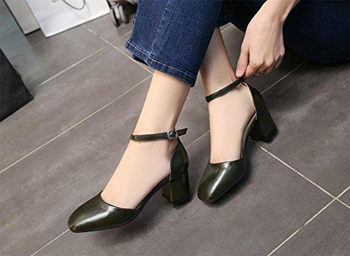 Calzado de cabeza cuadrada transpirable áspera con la palabra cingulado sandalias de tacón alto de las sandalias de Baotou Green