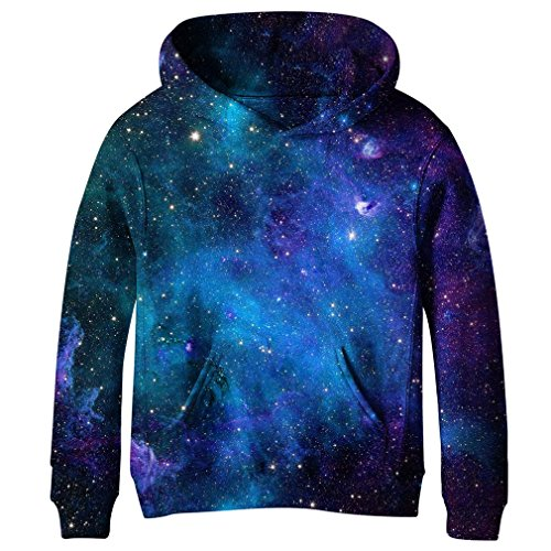 - SAYM Teen Boys' Galaxy Fleece Sweatshirts Pocket Pullover Hoodies 4-16Y NO3 M