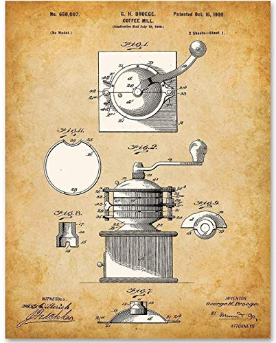 Coffee Mill - 11x14 Unframed Patent Print - Makes a Great Gift Under $15 for Coffee Lovers ()