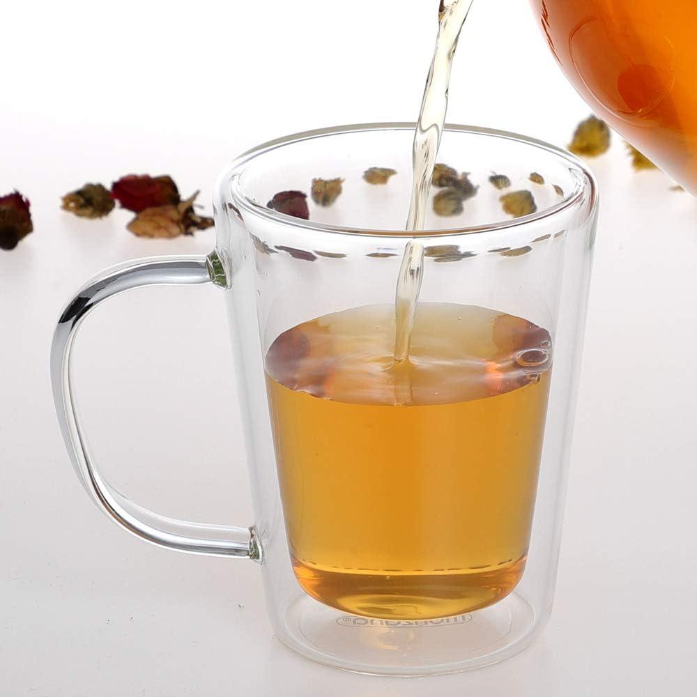 4er Set Teegl/äser Teebereiter 1,5 L Glaskanne Edelstahl Sieb Hitzebest/ändig Monzana Teekanne mit St/övchen inkl