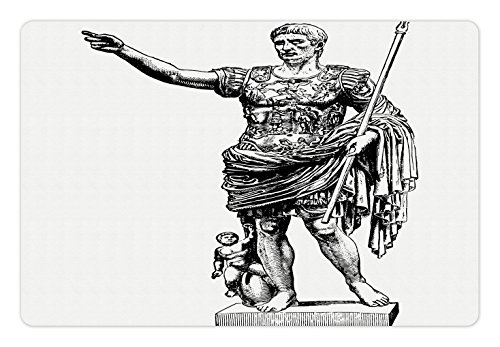 Ambesonne Toga Party Pet Mat for Food and Water, Antique Statue of Augustus Vintage Ancient Historical King Emperor Figure Print, Rectangle Non-Slip Rubber Mat for Dogs and Cats, Black White