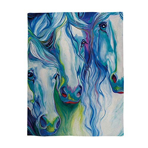 - Comfy Plush Fleece Throw Blanket 50x60 inch Art Soft Coach Blanket Lightweight Stadium Blanket Abstract Colorful Horse Watercolor Painting
