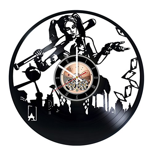 [Harley Quinn DC Vinyl Record Wall Clock - Living Room or Nursery Room wall decor - Gift ideas for teens, friends - Comics Unique Art Design] (Batman Arkham Knight Catwoman Costume)