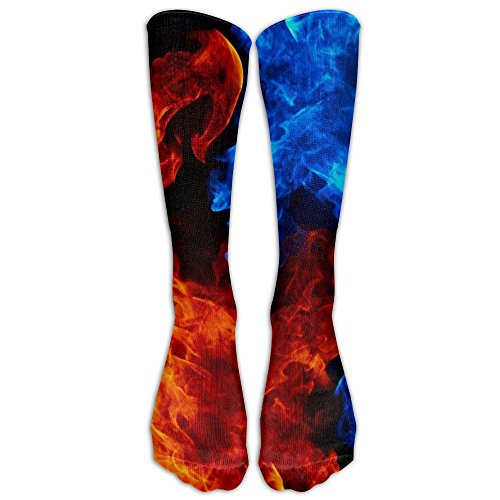 Novelty Casual Long Socks 3d Printed Fire Hot Patterned Comfortable Warmer Stockings 1 Pair For Women & Men Sport High - Fire Foothills