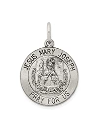 925 Sterling Silver Holy Family Medal Pendant Charm Necklace Religious Jesus Mary Joseph Fine Jewelry Gifts For Women For Her