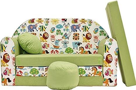 PRO COSMO Z5, sofá Cama con Puff/reposapiés/Almohada para niños, Tela Verde, 168 x 98 x 60 cm