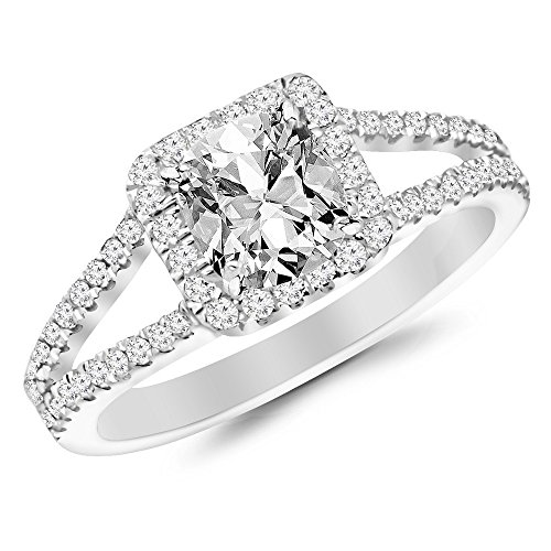 - 14K White Gold 1.02 CTW Halo Style Double Row Pave Set Designer Diamond Engagement Ring w/0.57 Ct GIA Certified Cushion Cut F Color VS2 Clarity Center