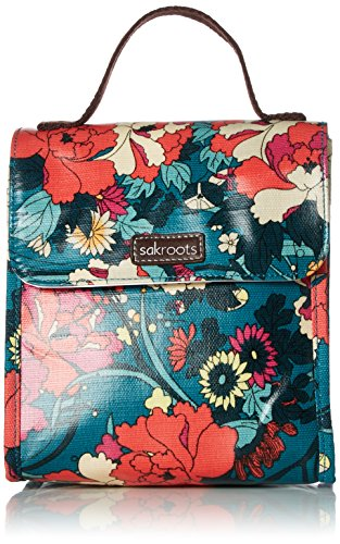 Sakroots Flap Lunch Box, Teal Flower Power, One Size
