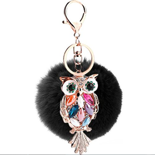 DongCrystal Plush Ball with Artificial Owl Inlay Bling Pearl Rhinestone Key Chain for Womens Bag or Cellphone or Car Pendant - Black