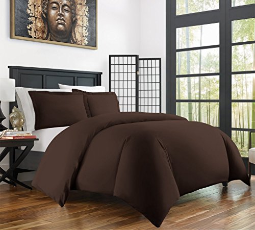 Zen Bamboo Ultra Soft 3-Piece Rayon Derived From Bamboo Duvet Cover Set - Hypoallergenic and Wrinkle Resistant - Full/Queen - Brown