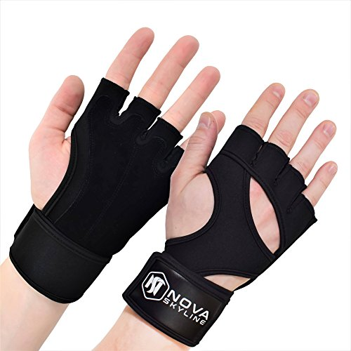 """Gym, Weightlifting, Exercise, Workout, Fitness & Crossfit Gloves - Padded Palm, Fingerless, Ultralight Weight, 16"""" Wrist Support Wrap - Men & Women – Black, Pink, Purple, Red, Blue, Camo"""